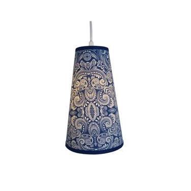 Luminária Pendente Cone Tecido Arabesco Azul E Branco