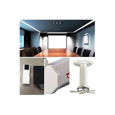 Tela de Projeção Elétrica TES 4x3 100POL TEM100VA 220V + Suporte Projetor girus