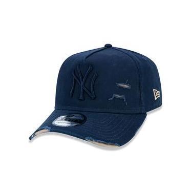 Imagem de Bone 9Forty A-Frame Aba Curva Ajustavel Destroyed Mlb New York Yankees Aba Curva Marinho New Era