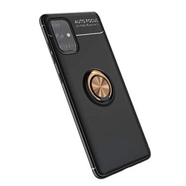 Cellular Capa para Samsung Galaxy A71(5G)/A Quantum Capa Case Anel Suporte Magnético Protetor de Suporte TPU + ABS Silicone Capa Anti-queda Atualização função de suporte Caso Cell Case:Preto Ouro