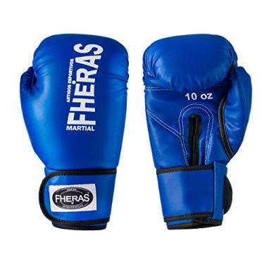 Luva de Boxe Muay Thai MMA 14oz Azul Fheras