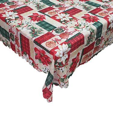 Imagem de giveyoulucky 150 x 180 cm Toalha de mesa de Natal com estampa temática de Natal retangular requintada capa de mesa de poliéster decoração de festa A
