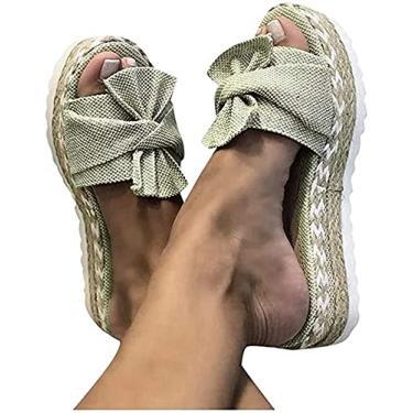 Imagem de Xbtianxia Sandália feminina com salto anabela – Botas de verão com laço de amarrar e chinelos de plataforma sem cadarço Sapatos respiráveis de bico aberto (cor: cáqui, tamanho: 9,5-10)