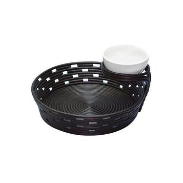 Imagem de Petisqueira Grande em Rattan com Bowl Pequeno em Porcelana