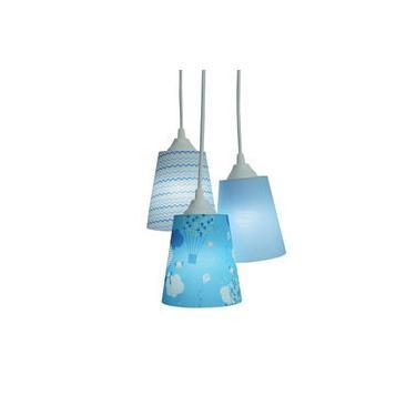 Lustre Pendente Luminária Infantil Balões E Nuvens Tons De Azul