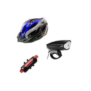 Kit Ciclismo Bike Segurança Capacete e Lanterna Frontal c/ Buzina + Farol Traseiro Luatek