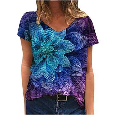 Camiseta feminina de manga curta, casual, solta, com estampa de flores cênicas, gola redonda, plus size, D - roxo, XL