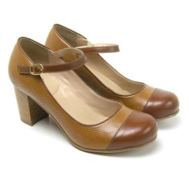 Sapato Miuzzi Couro Feminino Salto Medio Elegante Fivela