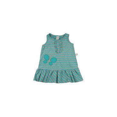 Vestido Infantil Meia Malha Listrada Bordado Florzinha - Verde