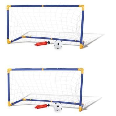 Imagem de Kit 2 Trave e Bola Infantil Chute a Gol Kit com Rede Bomba Brinquedo Futebol DM Toys DMT5075