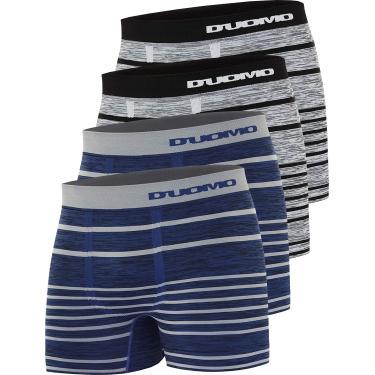 Imagem de Kit 4 Cuecas Boxer Microfibra, Duomo, Masculino, 2 Azul/ 2 Cinza, G
