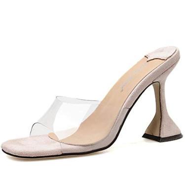 SaraIris sandália feminina Peep Toe transparente com bico quadrado transparente mules chinelo aberto bico deslizante de salto, 2 Apricot, 8.5