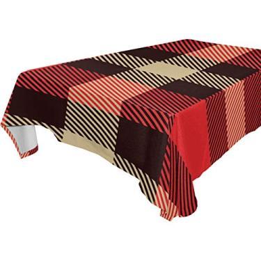 Imagem de My Little Nest Toalha de mesa quadrada vintage tartã estampa xadrez lavável poliéster toalha de mesa para piquenique, cozinha, decoração de jantar, 137 x 137 cm