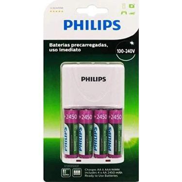 Imagem de Carregador de Pilhas Recarregável Philips c/ 4 pilhas bivolt
