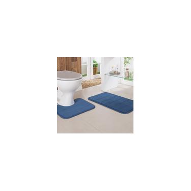 Imagem de Jogo Kit de Banheiro 2 Peças Antiderrapante Niazitex Miami Azul
