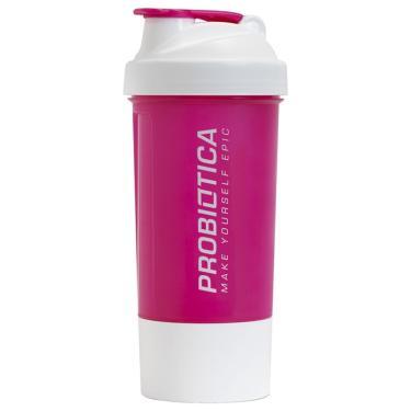Coqueteleira 2 Compartimentos 600 ml Probiótica - Rosa com Branco