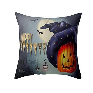 Imagem de SL&LFJ Capa de almofada com tema de Halloween Capa de almofada de algodão para decoração de escritório para sofá, cama, sofá, decoração de carro, festa, festival, sala de estar, presente para a família (cor: C)