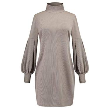 SELX Vestido feminino solto colado ao corpo, gola rolê, vestido de manga comprida, Cinza, S