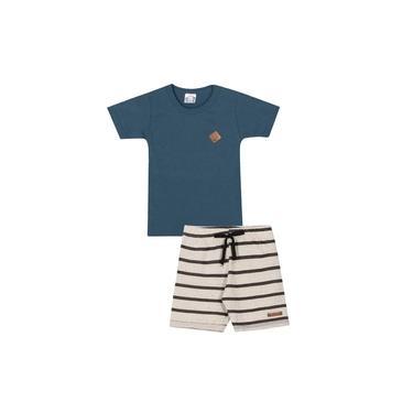Conjunto Infantil Menino Camiseta Petróleo 100% Algodão Bermuda Creme