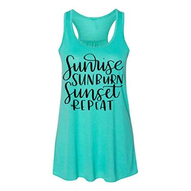 Regata feminina Sunrise Sunburn Sunset Repeat Country Music, Azul-petróleo, L