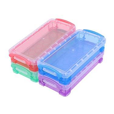 Toyvian Estojo de plástico transparente multifuncional, 4 peças, estojo de armazenamento transparente para lápis, artigos de papelaria para crianças (cores sortidas)
