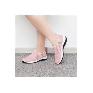 Moda feminina tênis respirável mosca tecer luz esportes sapatos conforto macio tênis