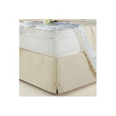 Imagem de Saia Box Olimpo Microfibra em matelassê costurado - Queen - Bege