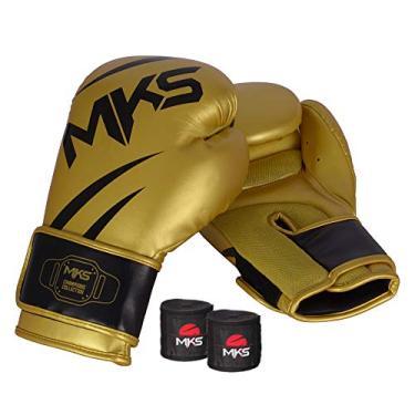 Kit Luva de Boxe MKS Champions V3 Dourado/Preto + Bandagem Preta 2,55m (14 oz)