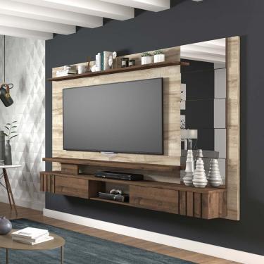 Painel para TV até 65 Polegadas 2 Portas Basculantes Murano Permobili - Rústico/Café