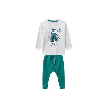 Conjunto Milon Camiseta e Calça Moletom Pinguim Cinza e Verde 10640