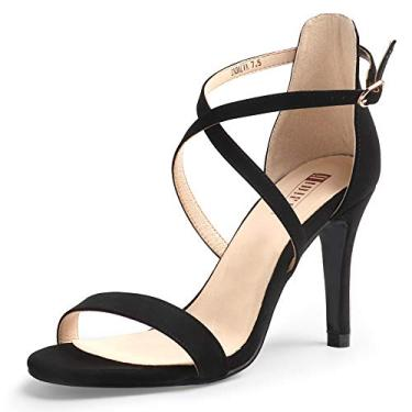 IDIFU sandália feminina Silvia Cross com tiras saltos 7,6 cm bico aberto tira no tornozelo vestido de festa de casamento sapatos de salto, A Black Nubuck, 6.5