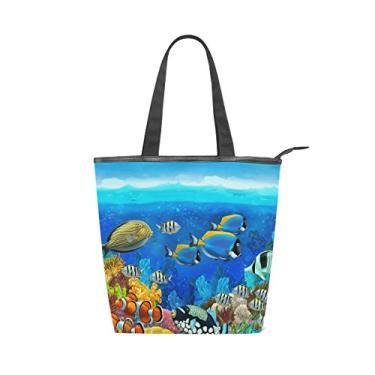 Bolsa feminina durável de lona colorida para peixes subaquáticos, recife de corais, bolsa de ombro para compras com grande capacidade