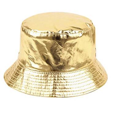 KESYOO Chapéu de sol feminino de verão com aba larga para pescador, chapéu de praia flexível com UV para uso ao ar livre, Dourado, 30*28*5cm
