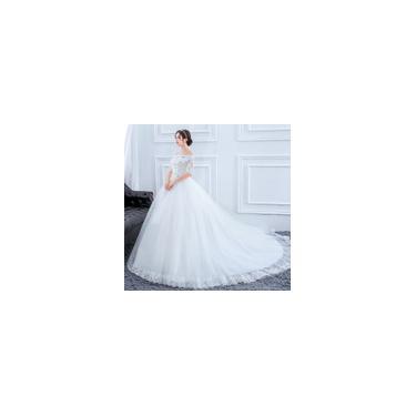 Imagem de Vestido longo cauda branco de noiva Alto conforto Plus Size C03