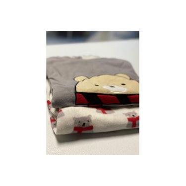 Pijama Feminino Longo Fleece Quente Macio Confort Urso Cinza