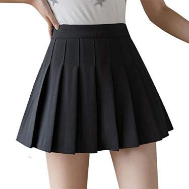 Saia plissada de cintura alta para meninas, saia xadrez simples, evasê, minissaia, skatista, uniforme escolar, shorts com forro, Preto, L