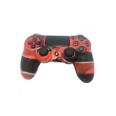 Case Capa De Silicone Para Controle Dualshock 4 Playstation 4 Ps4 - Vemelho/Preto