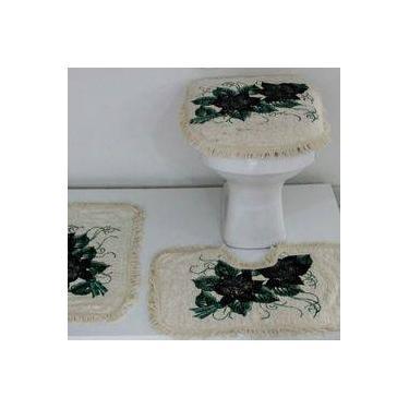 2901a1d8e6 Conjunto De Tapetes Para Banheiro 3 Peças Fofinho Pintado Preto