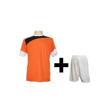 Imagem de Uniforme Esportivo com 14 camisas modelo Sporting Laranja/Preto/Branco + 14 calções modelo Madrid Branco +