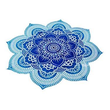 Imagem de Nuolux Toalha de praia, tapeçaria de mandala, formato de flor de lótus, toalha redonda hippie cigana boho para ambientes externos, toalha de mesa, tapete de ioga para pendurar (roxo), Blue,bleu