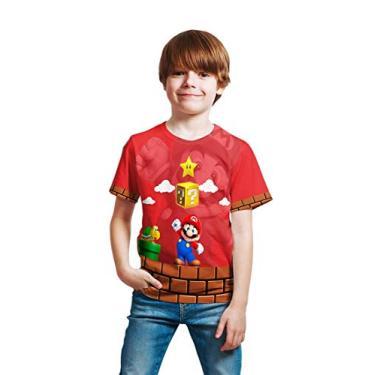 Camiseta Infantil Menino Mario Bros Vermelho