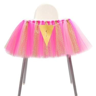 Saia tutu para cadeira alta de 1º aniversário saia saia saia banner decoração para festa de chá de bebê (rosa, rosa, rosa, dourado)