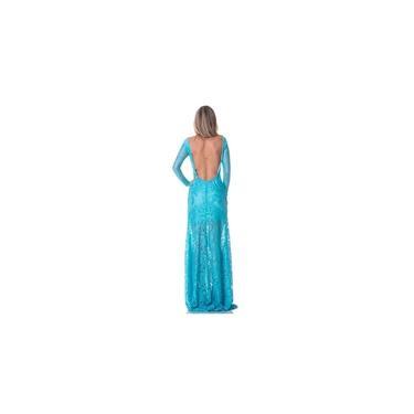 Vestido Longo Feminino Em Renda Manga Longa Azul Decotado Nas Costas Festa Gisele Freitas