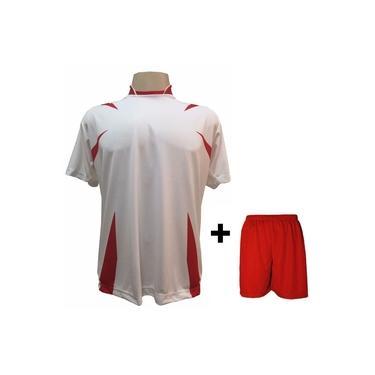 Imagem de Uniforme Esportivo com 14 camisas modelo Palermo Branco/Vermelho + 14 calções modelo Madrid Vermelho +