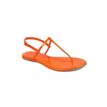 Sandália Flat Feminina Mercedita Shoes Neon Verniz Laranja