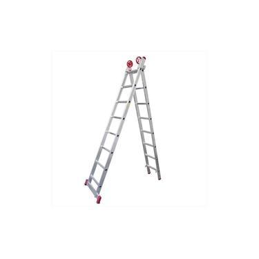 Escada Extensiva de Alumínio 8 x 2 Degraus 2,40 x 3,88 Metros ESC0617 BOTAFOGO