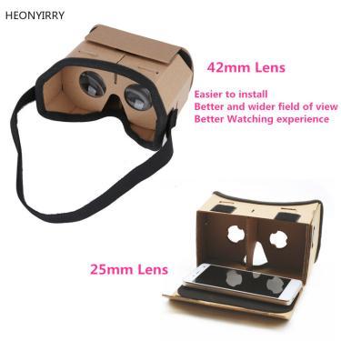 DIY Portátil Óculos de Realidade Virtual Óculos Google Papelão 3D 42mm lente VR óculos Para