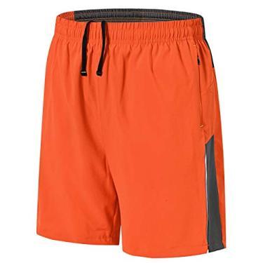 Imagem de Shorts de corrida masculino Rdruko para treino e secagem rápida, shorts leves para academia com forro de malha, Laranja, Small