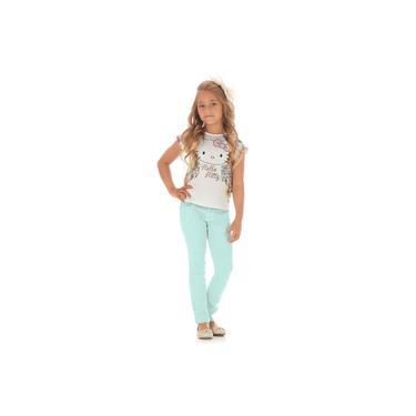 Blusa Menina Cetim Hello Kitty Com Flores E Calça Skinny Com Glitter Verde água