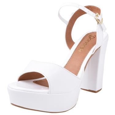 Sandália Salto Alto PARVANEH Meia-Pata Verniz Branco  feminino